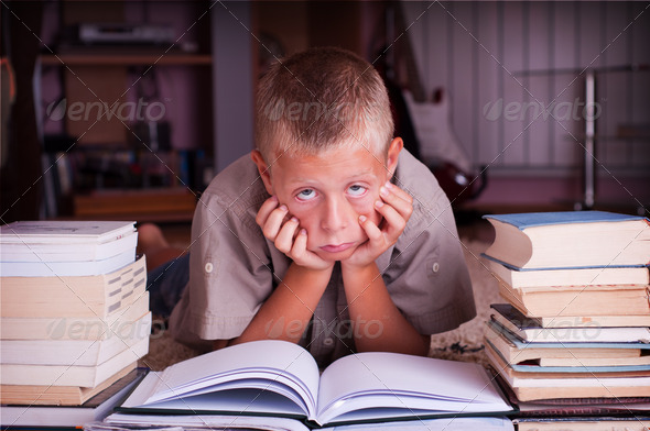 boy reading book - Stock Photo - Images