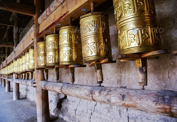 prayer wheel,sichuan,china - Stock Photo - Images