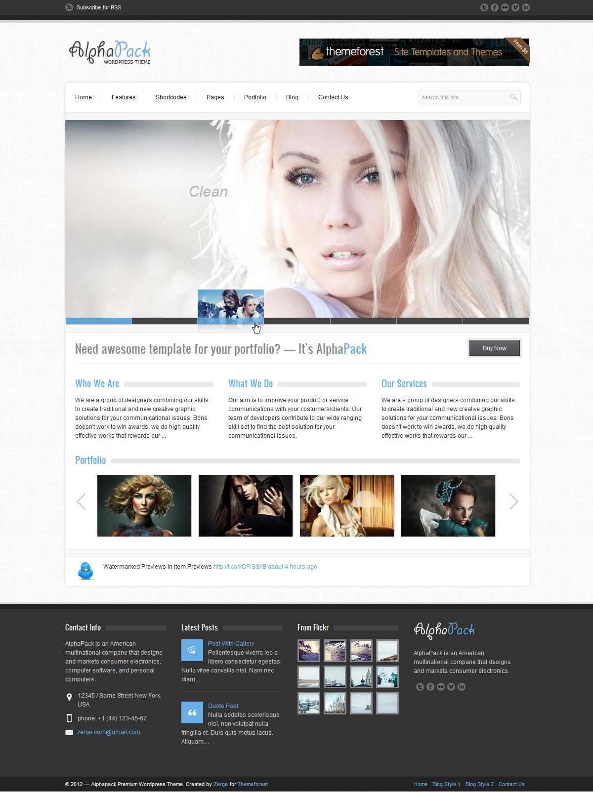 Alphapack - Premium WordPress Theme - Home Page