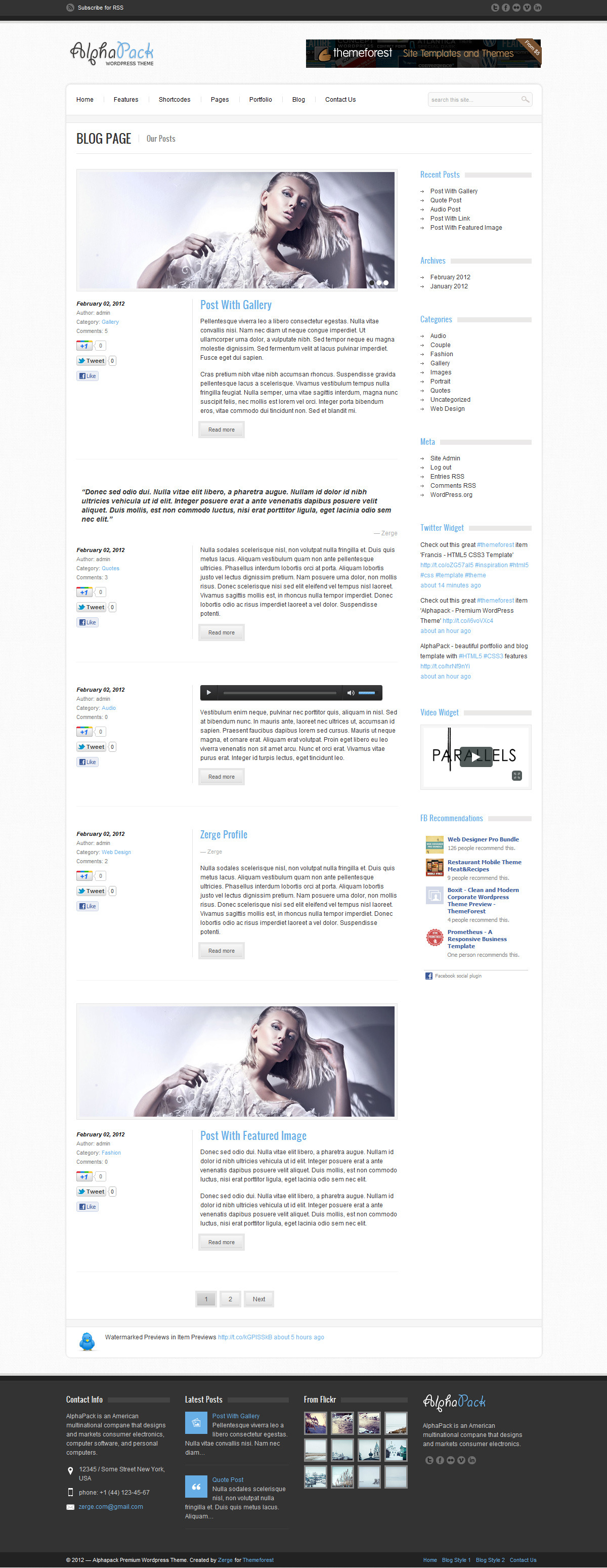 Alphapack - Premium WordPress Theme - Blog 1