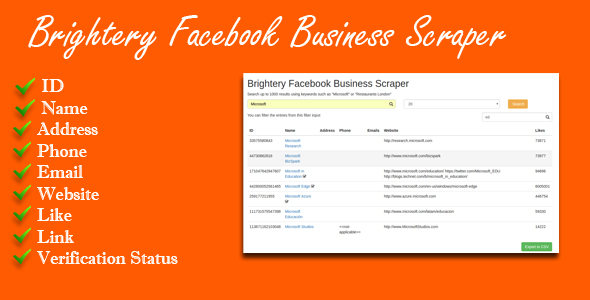 Download Brightery Facebook Business Scraper nulled download