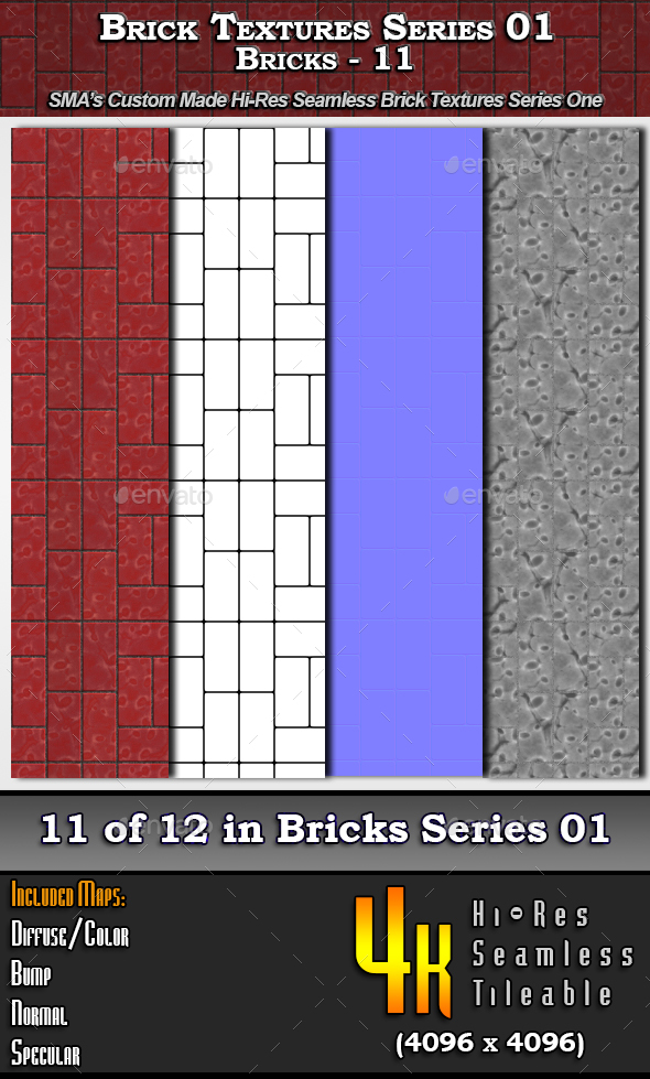 Hi-Res Texture Bricks-11 of Brick Textures - S01 - 3DOcean Item for Sale