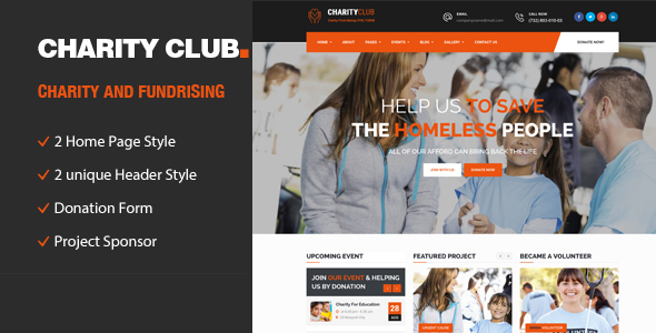 Charity Club || Responsive HTML Template for Charity & Fund Raising