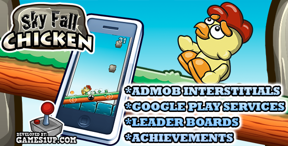 Sky Fall Chicken game +Admob +Leaderboard +Achievements - CodeCanyon Item for Sale