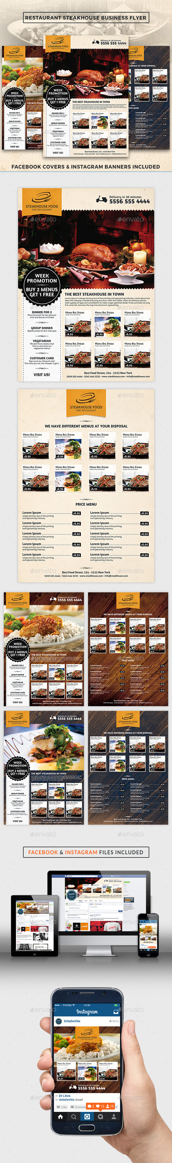 Restaurant SteakHouse Advertising Business Flyer