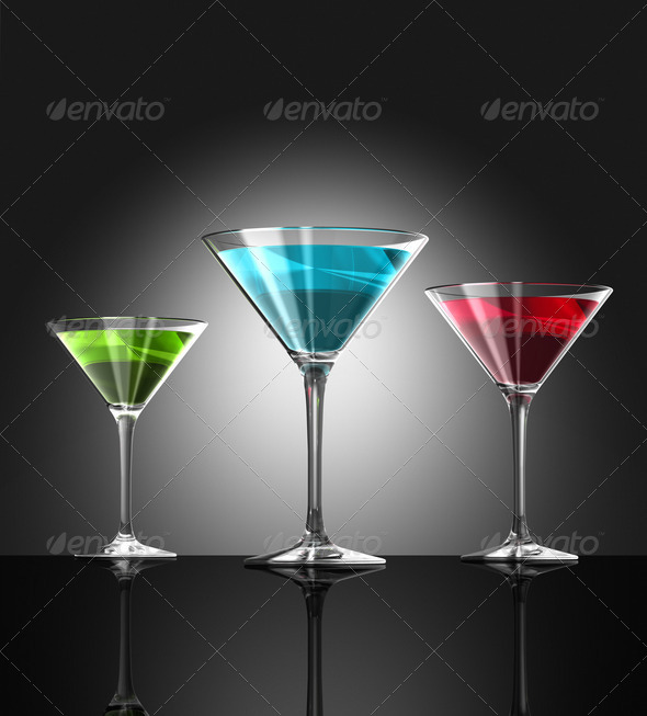 red, green and blue cocktail glasses - Stock Photo - Images