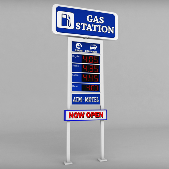 Gas station price sign totem low poly - 3DOcean Item for Sale