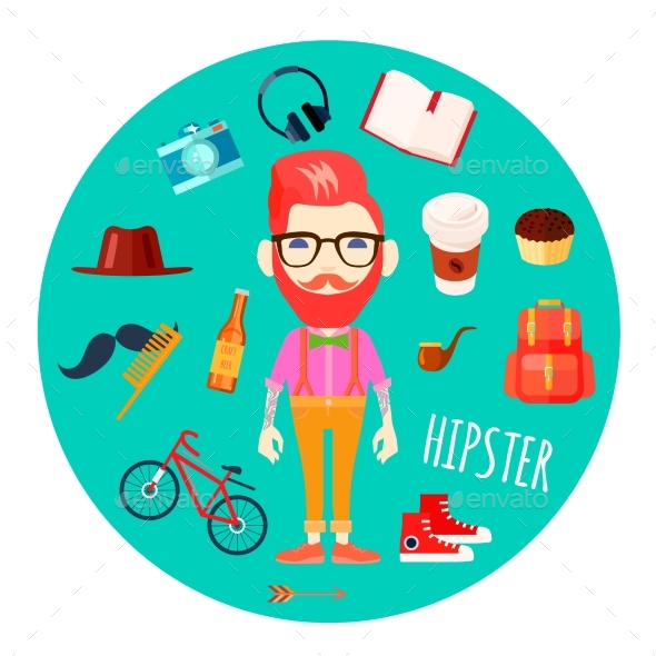 Hipster Character Accessories Flat Round