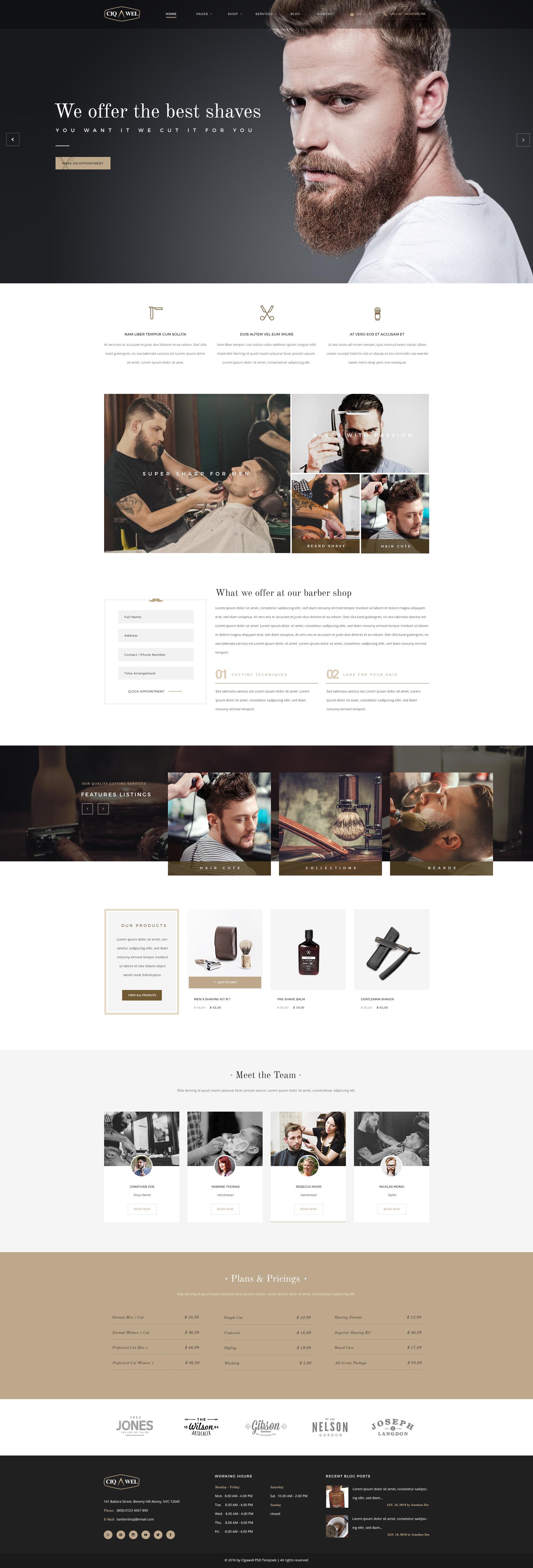 cigawel barbershop psd template by kl webmedia themeforest. Black Bedroom Furniture Sets. Home Design Ideas