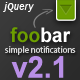 FooBar - A jQuery Notification Bar