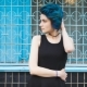 Beautiful Young Girl With Blue Hair. She Just Changed The Image