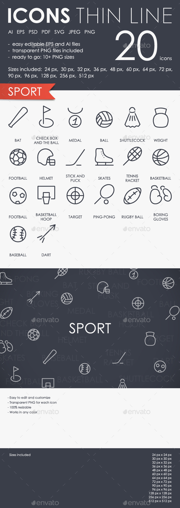 Sport Thinline Icons
