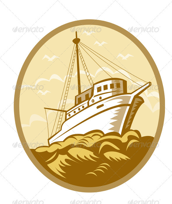 Commercial fishing boat ship sea woodcut graphicriver for Circle fishing boat