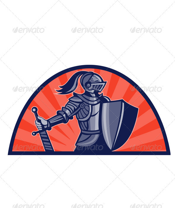 Knight With Armor and Sword Retro