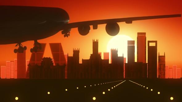 Madrid Espanja Skyline Sunrise Landing - Taustat Motion Graphics