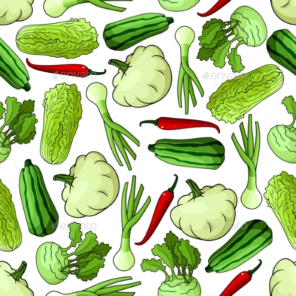 Cartoon Spring Vegetables Seamless Pattern