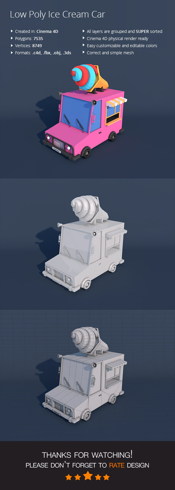 Low Poly Ice Cream Car - 3DOcean Item for Sale