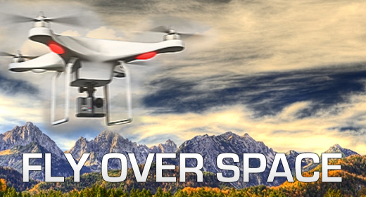Fly over drone quadcopter space ambient trance music