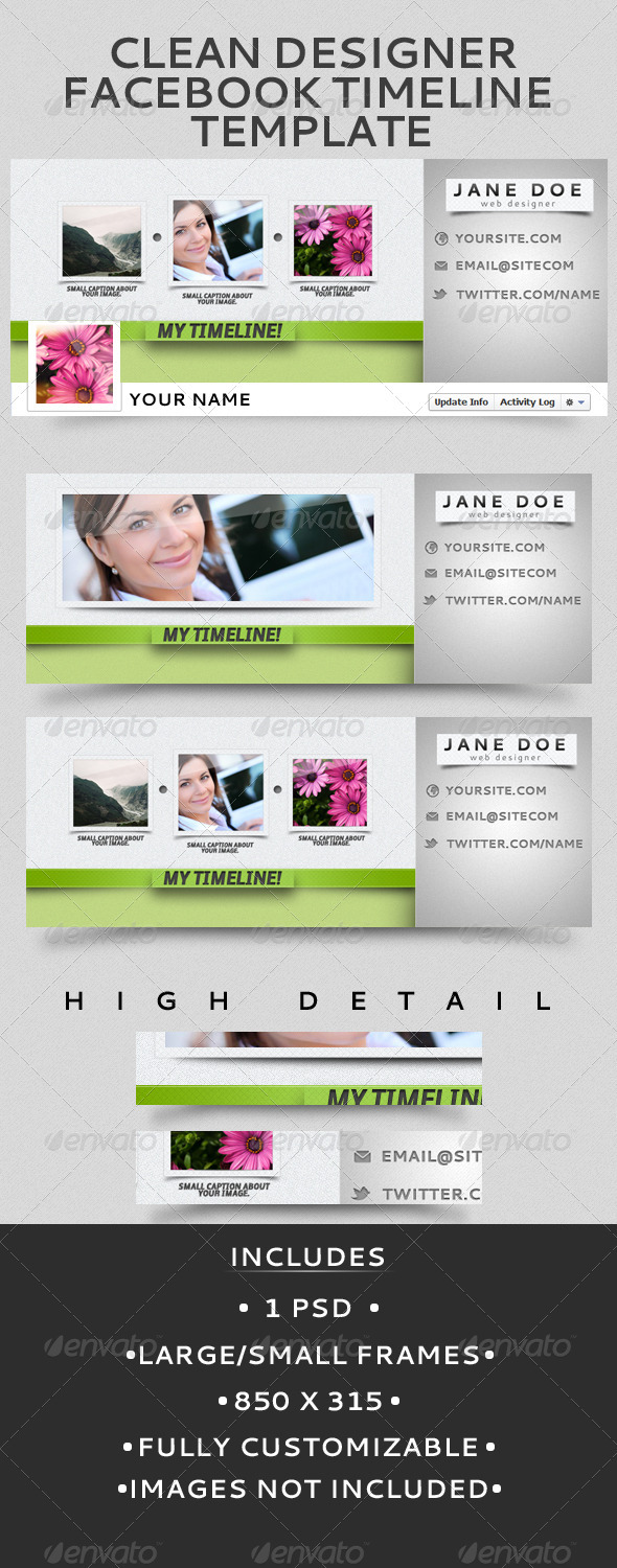 Clean Designer Facebook Timeline Template - Facebook Timeline Covers Social Media