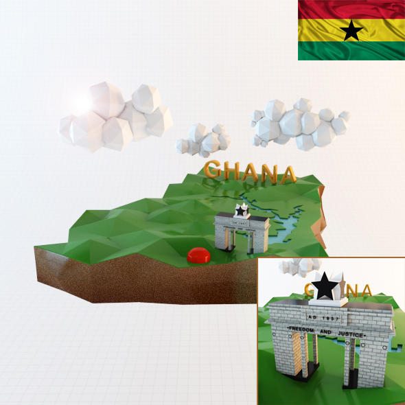 Low-poly 3d model Ghana - 3DOcean Item for Sale