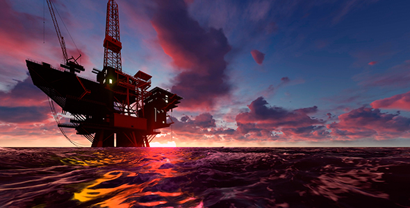 Oil Rig at Sea - Industrial Taustat Motion Graphics