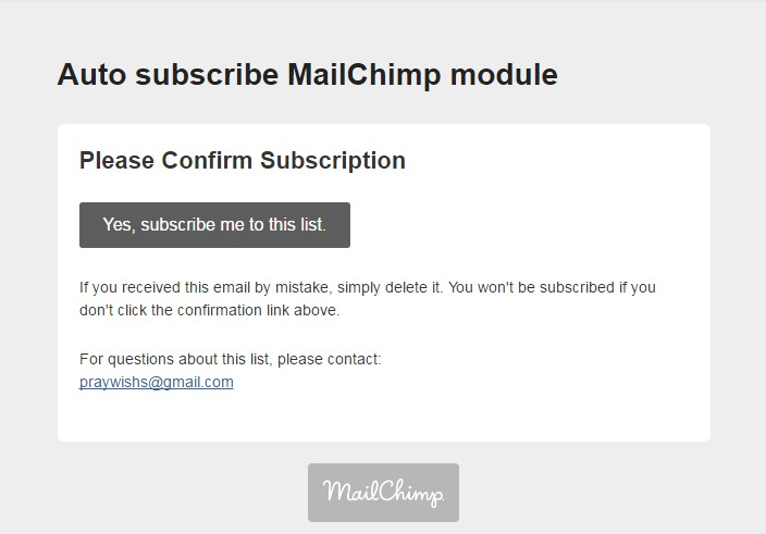 Confirm Subscription
