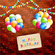 Birthday Card and Flying Balloons on Brick Wall Background