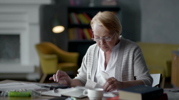 Download Elderly Woman Worries About Bills nulled download