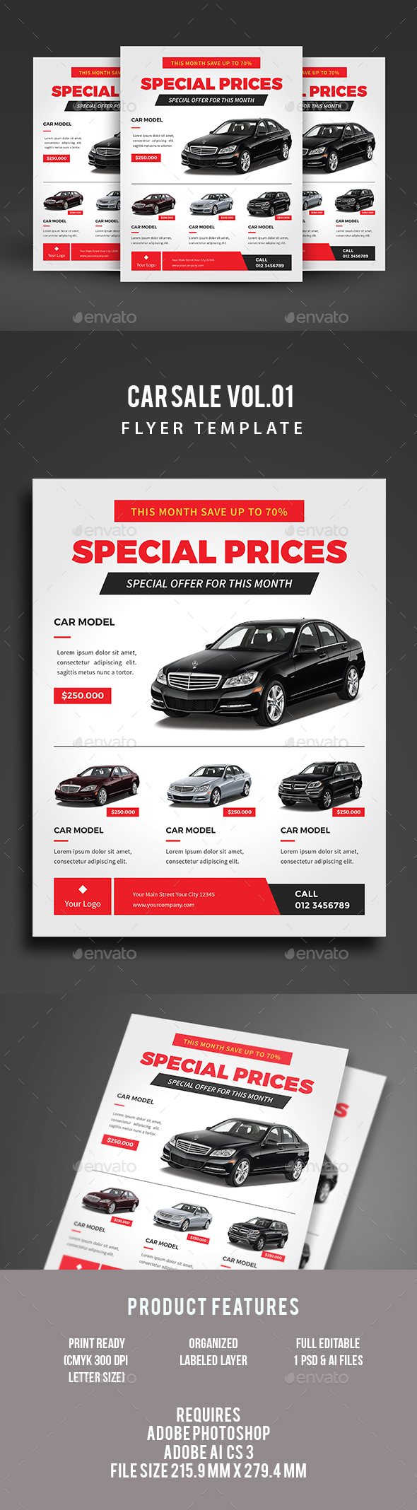 Car Flyer Graphics Designs Templates from GraphicRiver – Car for Sale Flyer