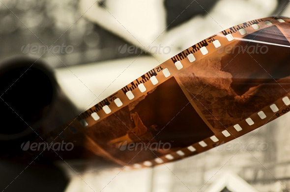 Old film strip and photos background - Stock Photo - Images