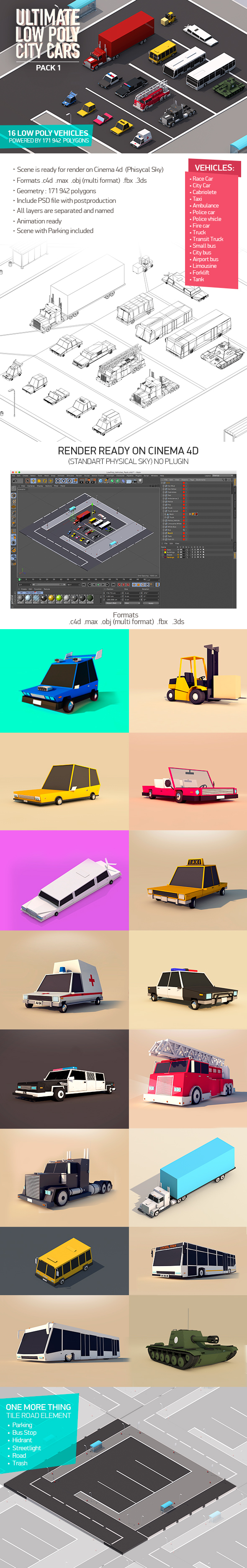 Ultimate Low Poly City Cars Pack - 3DOcean Item for Sale