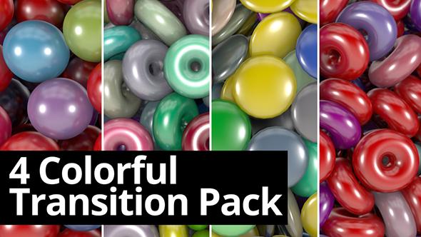 4 värikäs Transition Pack - 3D, Object siirtymiset Motion Graphics