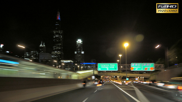 Download Driving at Full Speed to Downtown Chicago at Night nulled download