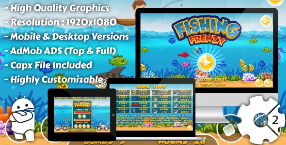 Fishing Frenzy - HTML5 Game, Mobile Vesion+AdMob!!! (Construct-2 CAPX)
