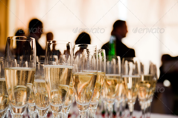 Champagne glasses at the party - Stock Photo - Images