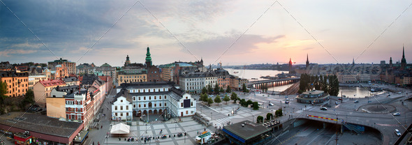 PhotoDune Stockholm Sweden wide panorama at sunset 1673386
