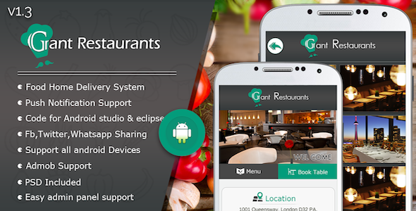 Food Delivery System for Restaurant with backend Android Full Application - CodeCanyon Item for Sale