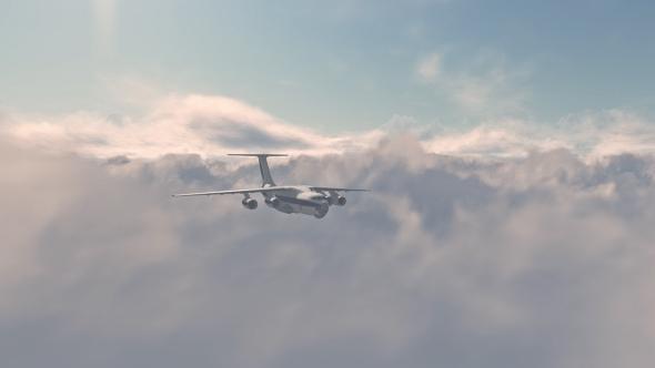 Jet Plane Fly Over Sunset - 3D, Object Taustat Motion Graphics