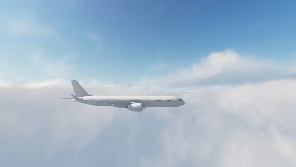 Airbus Plane Fly Over Sunset - 3D, Object Taustat Motion Graphics