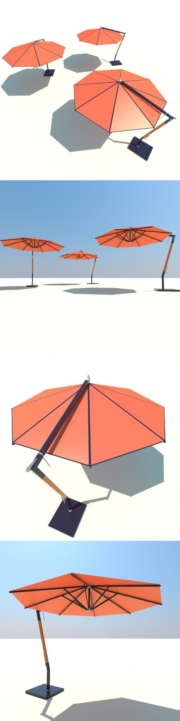 LOW POLY Woodline Picollo Round Cantilever Umbrella - 3DOcean Item for Sale