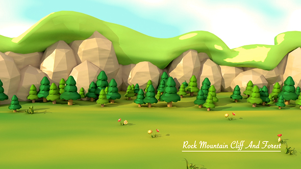 Cartoon Mountain Cliff And Forest - 3D, Object Taustat Motion Graphics