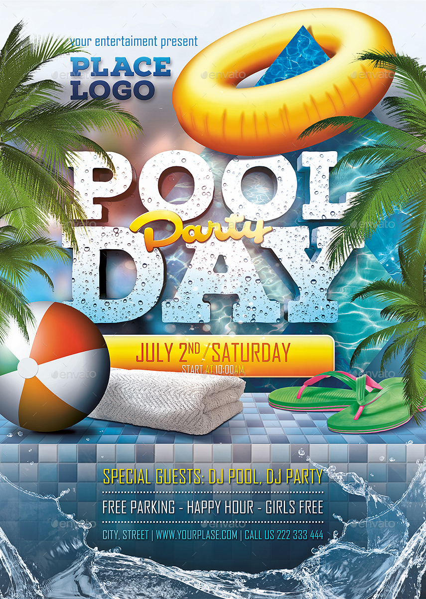pool day party poster template by fondrakes