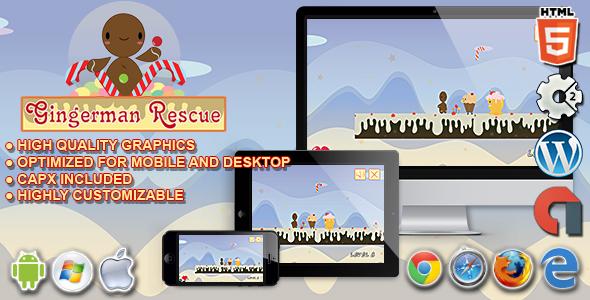 Download Gingerman Rescue - HTML5 Construct Platform Game
