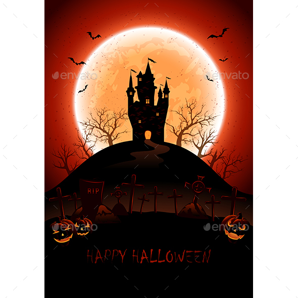 Halloween Background with Castle and Moon