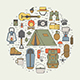 Hiking and Camping Monoline Icon Set