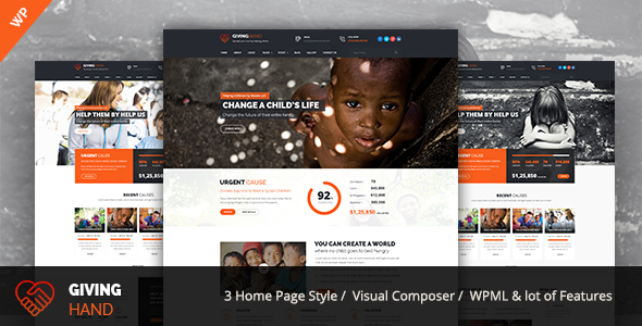 Giving hand - Charity/Fundraising WordPress Theme
