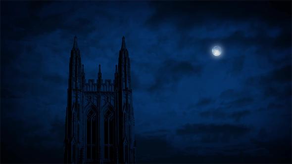Goottilainen kirkko Spire With Moon Above - Taustat Motion Graphics