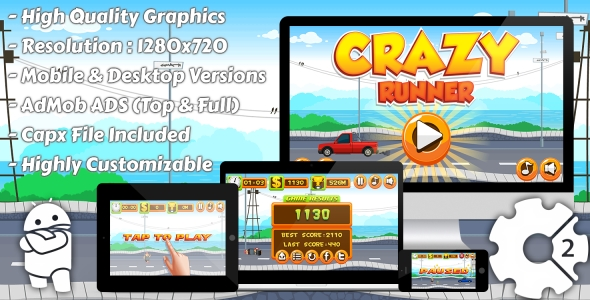 Crazy Runner - HTML5 Game, Mobile Vesion+AdMob!!! (Construct-2 CAPX)