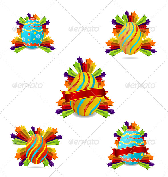 Elegance colored and swirl easter eggs set
