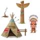 Man, Wigwam, Bird Totem And Fire. Indian Set